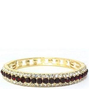 Monet Gold Tone & Red Crystal Stretch Bracelet 92
